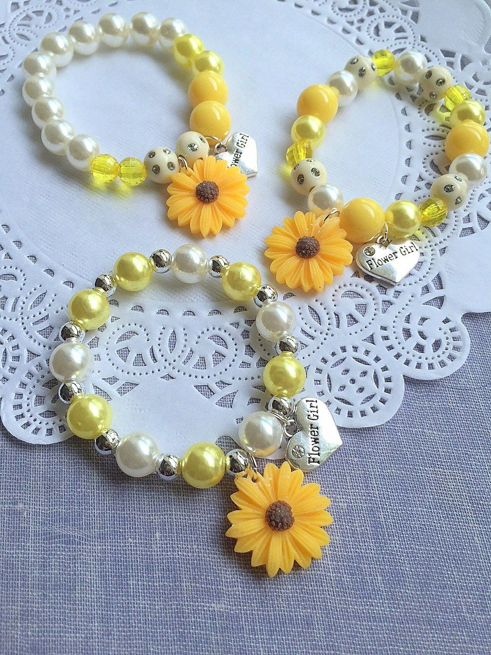 Sunflower bracelet sunflower jewelry flower girl bracelet flower