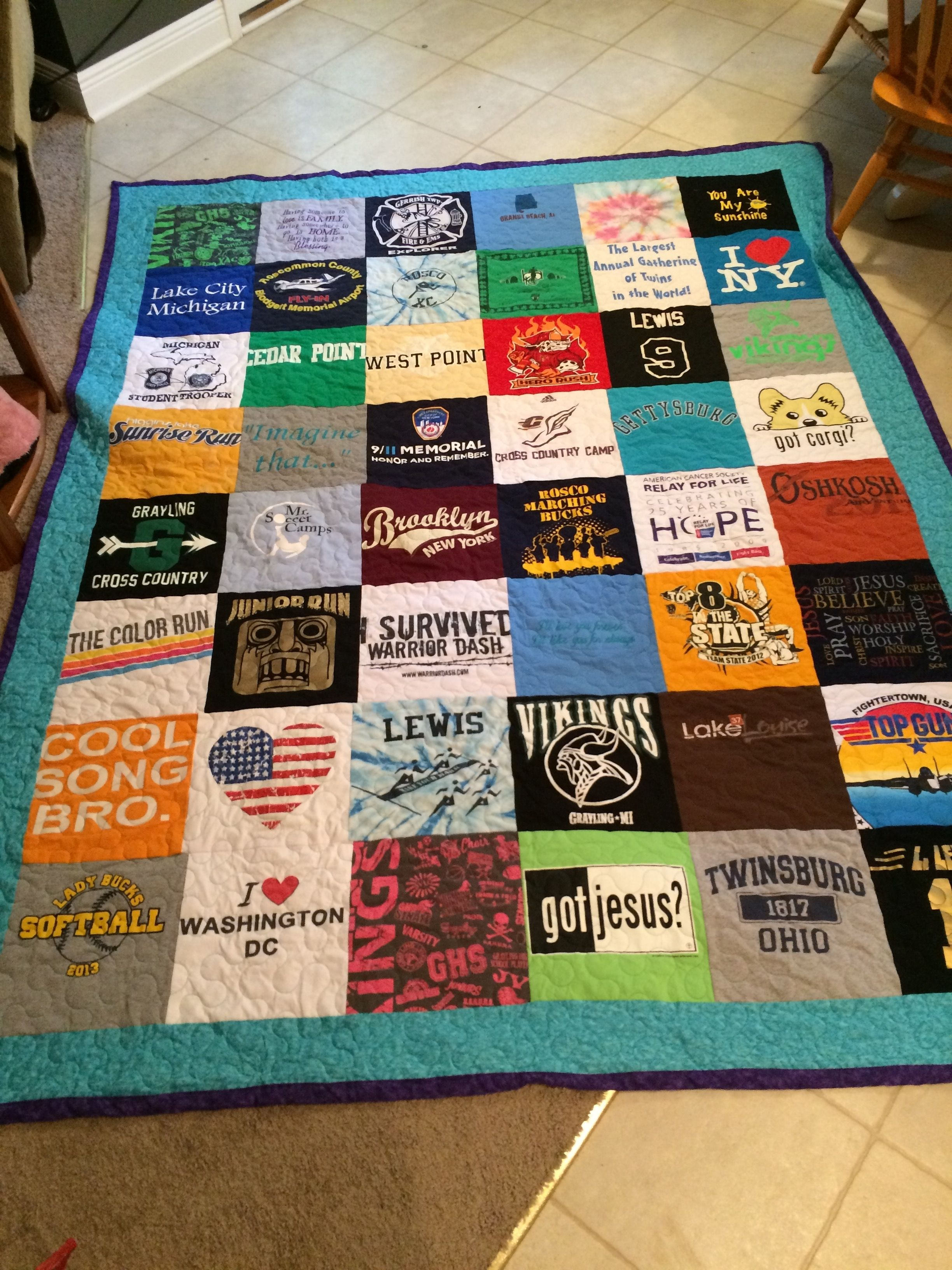Easy Quilt Patterns For Graduation : Made this t-shirt memory quilt for my daughter as a gift during her senior year of high school ...