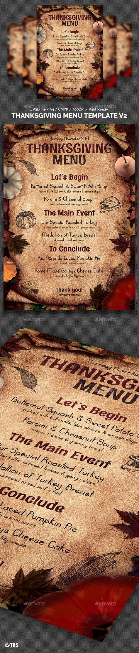 thanksgiving menu template v2 pinterest menu templates
