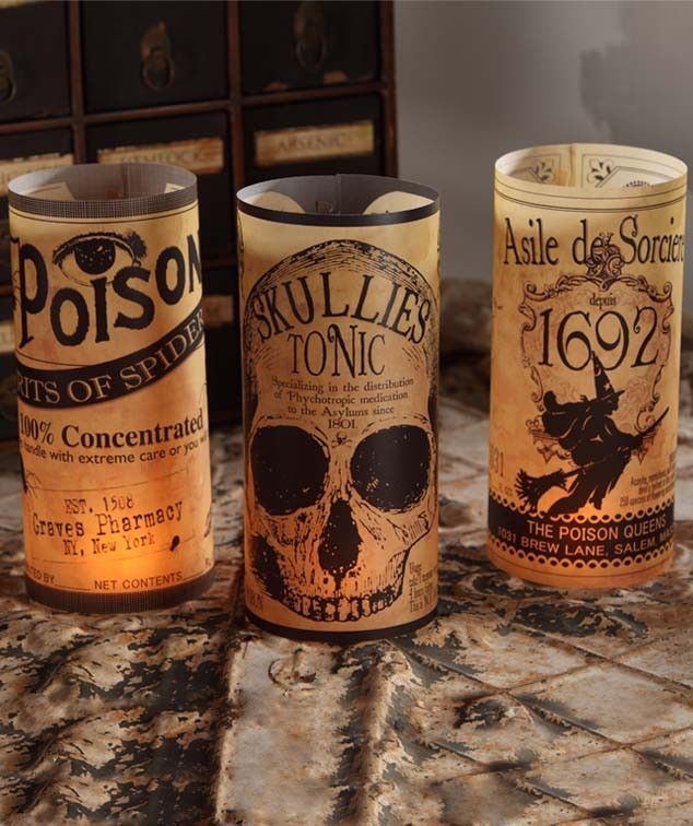Apothecary Luminaries - Set of 6 Black white halloween