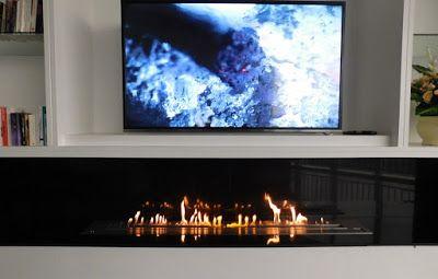 cheminee ethanol et television une approche moderne home decoration design home decor et house. Black Bedroom Furniture Sets. Home Design Ideas