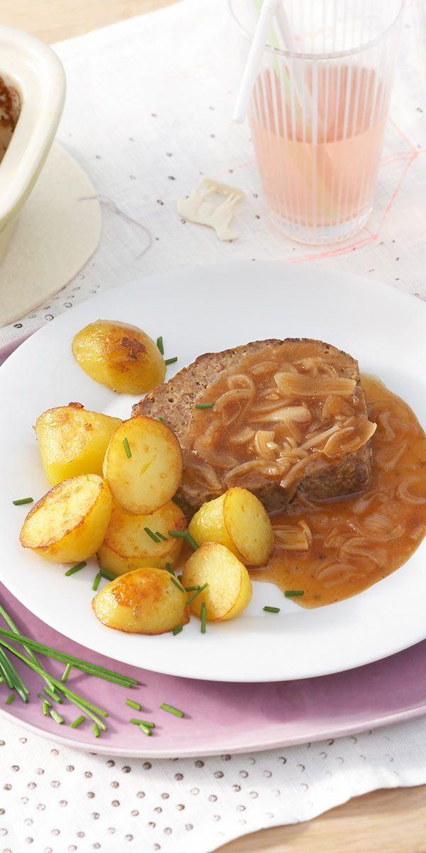 Immer Eine Gute Idee Ein Einfacher Hackbraten Mit Einer Intensiven Zwiebelsauce Und Feinen Kartoffelchen Dazu Lecker Kochen Rezepte Gerichte Mit Hackfleisch