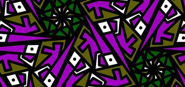Title  Tiny Man / Kinda Fish  Artist  Elizabeth McTaggart  Medium  Digital Art - Digital Graphics #tessellations #fun #cards