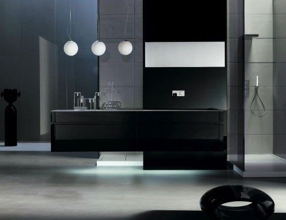 "italian bathroom vanity shown in black lacquer in an 89.4"" width"