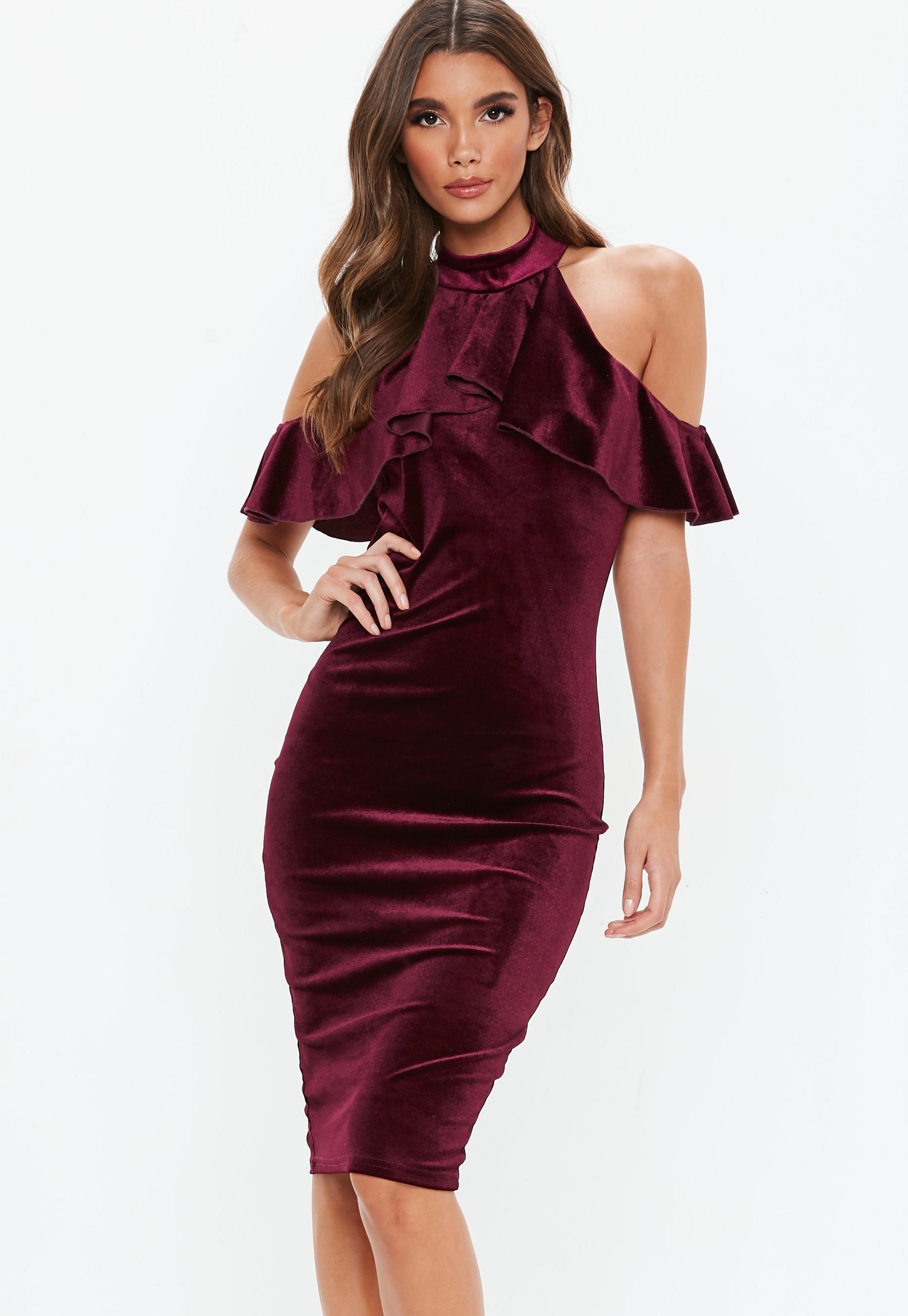 Burgundy velvet high neck frill cold shoulder midi dress