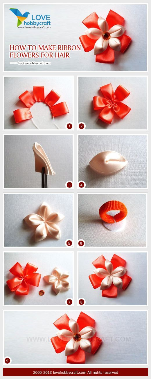 Crafts to Make with Ribbon | How to make ribbon flowers for hair #ribbonflower