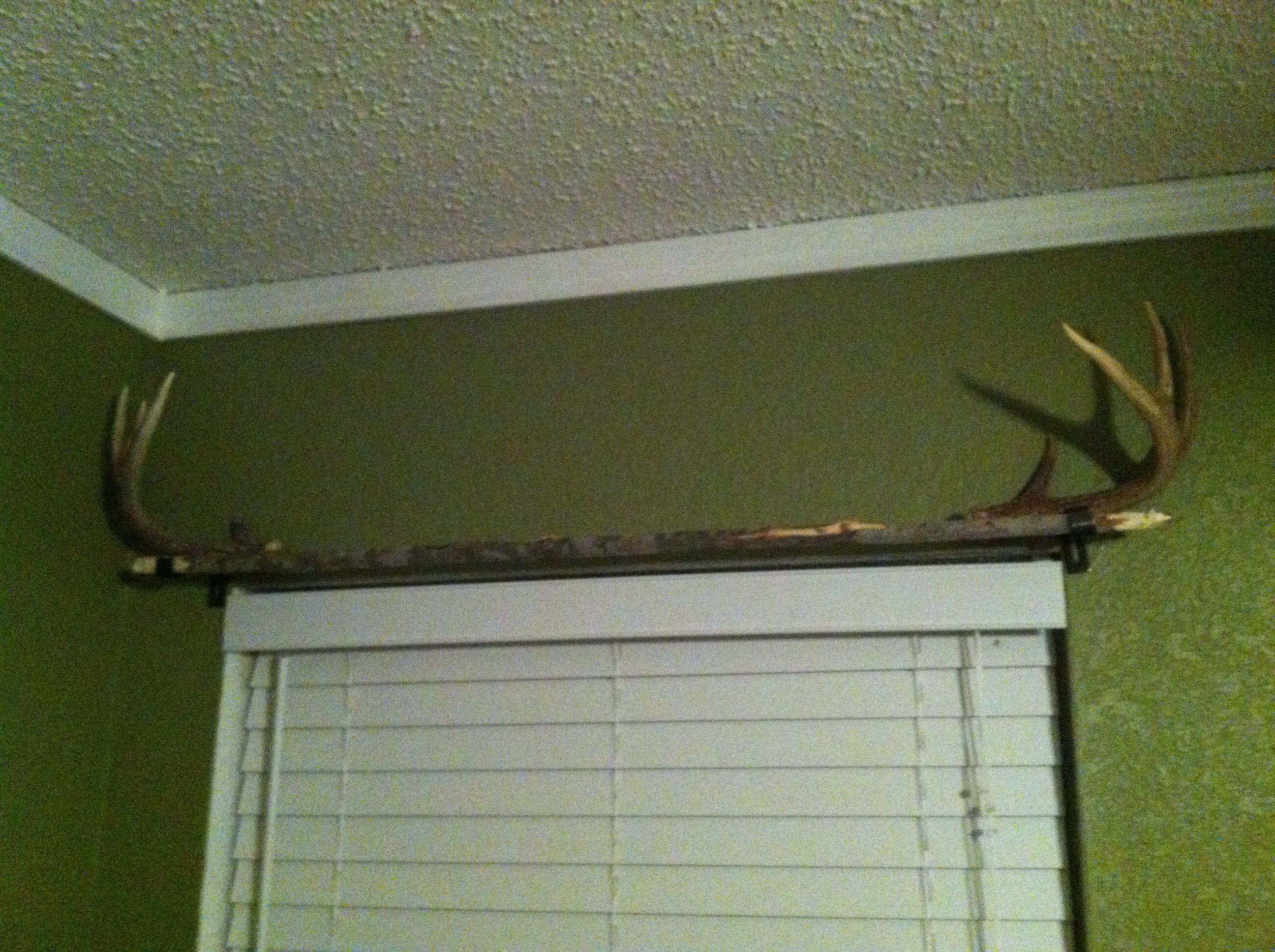Nautical curtain rod finials - Homemade Curtain Rod A Long Straight Branch With Antlers For End Pieces Curtains To