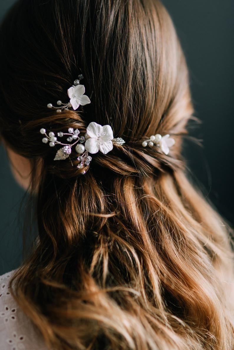 Bridal Hair Pins, Wedding Hair Pins SET, Flower Ha