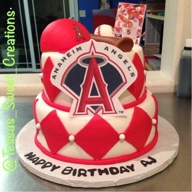 Angels Baseball Cake Firstbirthday Baseball Birthday Cakes