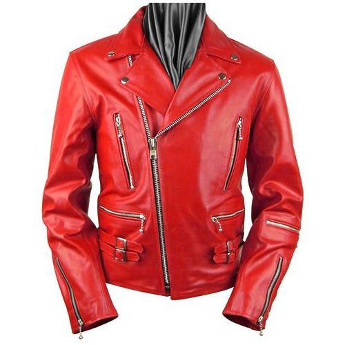 Men's Leather Red Multi-Use Fashion Casual Zipper Motorcycle Jacket New All  Size