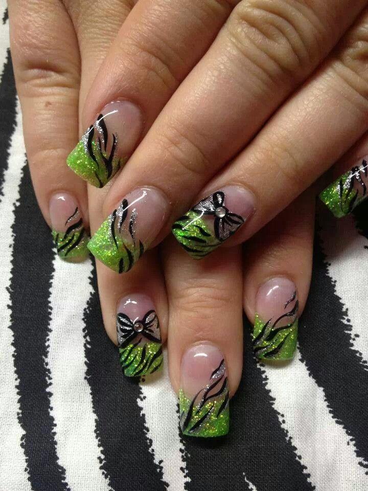 Nail Art Green Nails Green Nail Designs Funky Nail Art