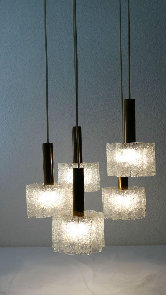 original doria kaskaden lampe ice glas r hrchen leuchte 60er 70er vintage aa45 lampen 60. Black Bedroom Furniture Sets. Home Design Ideas