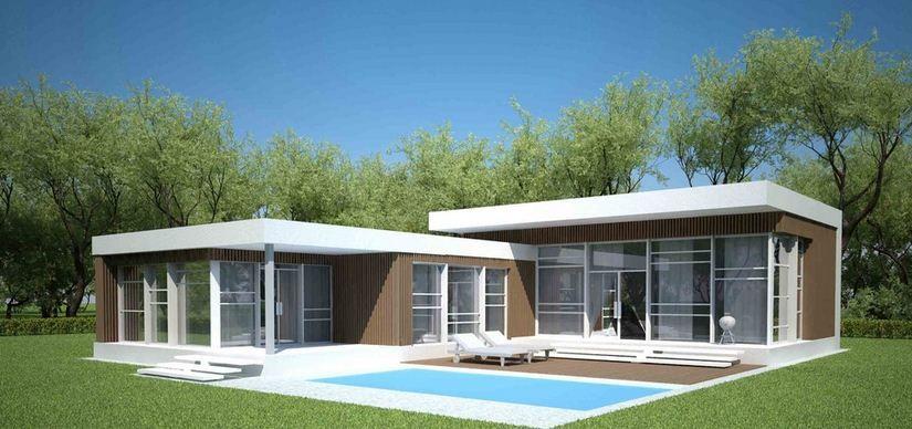 Parte trasera de casa minimalista con piscina casas for Casas de campo modernas con piscina
