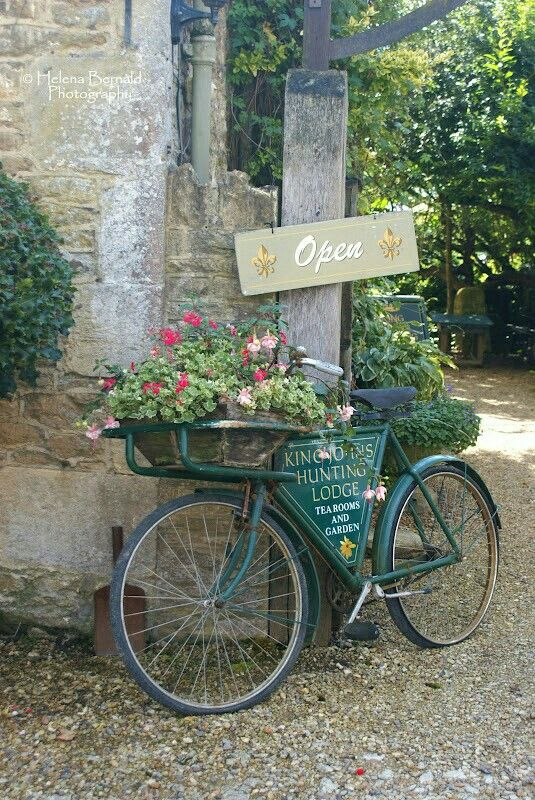 Vintage Bicycle Planter With Sign