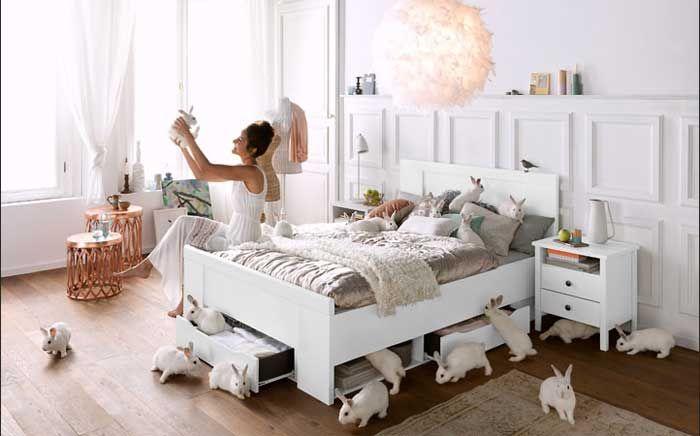 Wohndesign:Anmutig Schlafzimmer Landhaus Weiss Ideen Schlafzimmerm C3 B6bel  Landhausstil Wei 9F Dekoration Bettschublade Mit Fenster Vorh A4nge Und ...