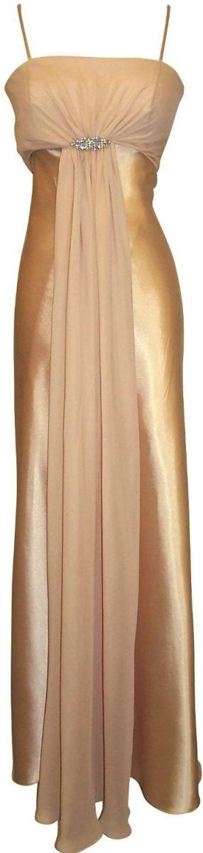 Gold New Plus Size Junior Satin Chiffon Long For Dress $180