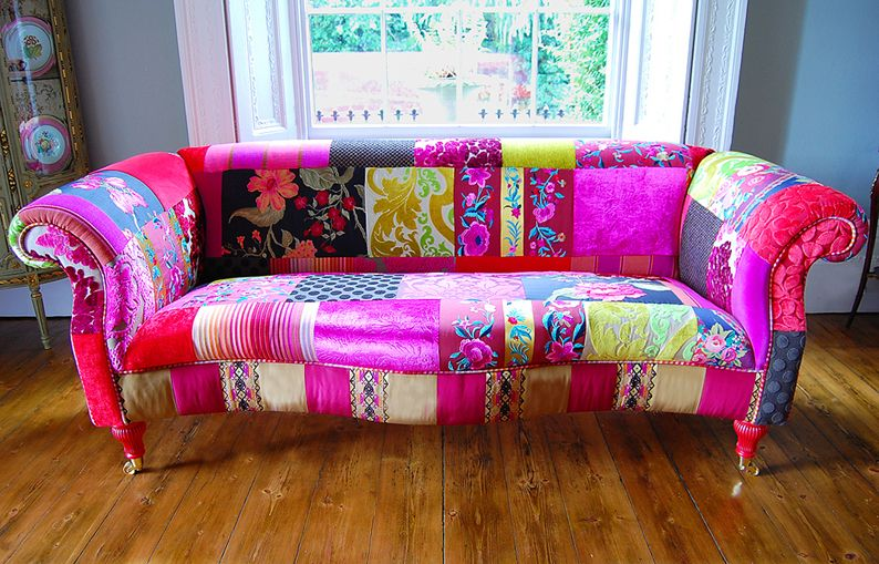 Patchwork Frenzy In Home Furnishings Patchwork Sofa Patchwork Furniture Funky Home Decor