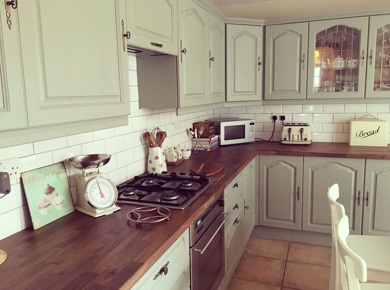 Upcycled kitchen cabinets in Farrow and Ball Pigeon with walnut ...