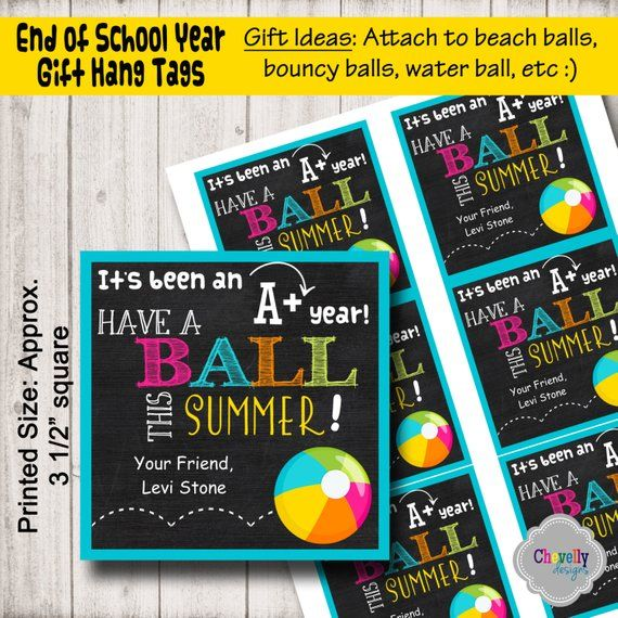 graphic relating to Have a Ball This Summer Printable called Custom made Finish of College Present Tag Printable - HT-EOY001