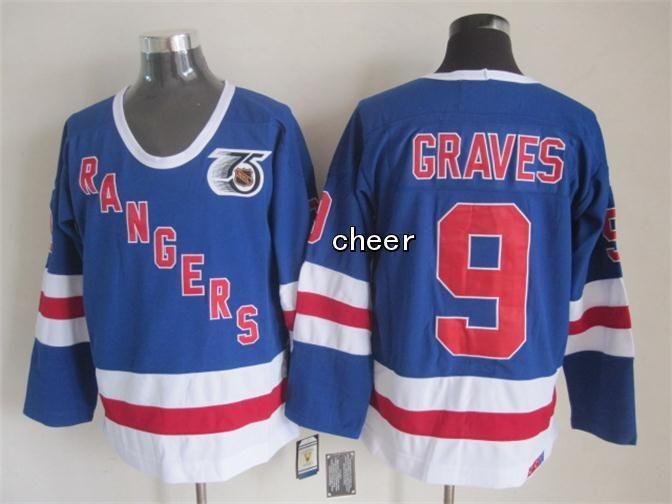 NHL New York Rangers  9 graves blue CCM 75th Anniversary Jersey ... 6a1eb17282b
