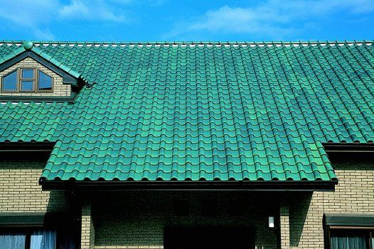 Colored roof tiles of spanish design ceram21 blue green for Spanish style roof tiles