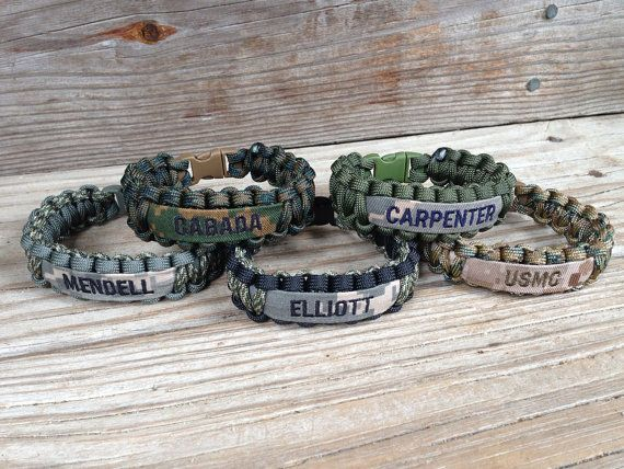 Custom Paracord Bracelet With Name Tape Army Air Force Marines