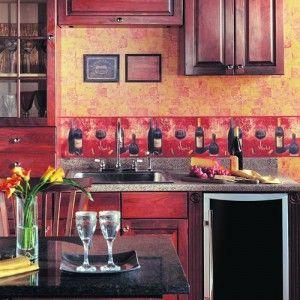 Wall Border Paper wine styled wallpaper border #wallpaper #kitchen | wallpaper