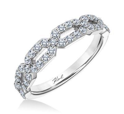 Karl Lagerfeld 18k White Gold Diamond Wedding Band 12 cttw