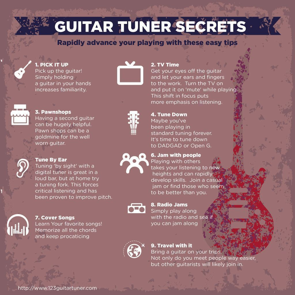 Guitar Tuner Secrets Infographic Guitar Guitartuner