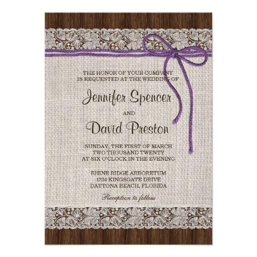 Purple Rustic Wedding Invitations: Purple Rustic Wedding Invitation, Burlap And Lace