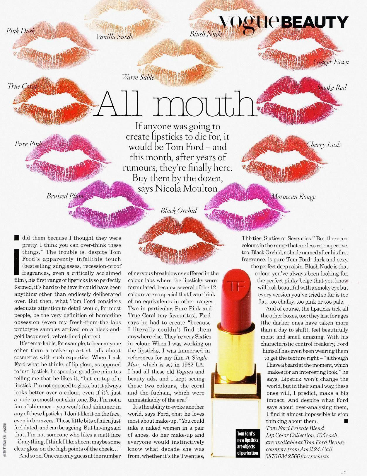 """"""" All Mouth """" : Tom Ford lipstick blot story shot by Sudhir Pithwa for UK VOGUE 2010 [my scan]."""