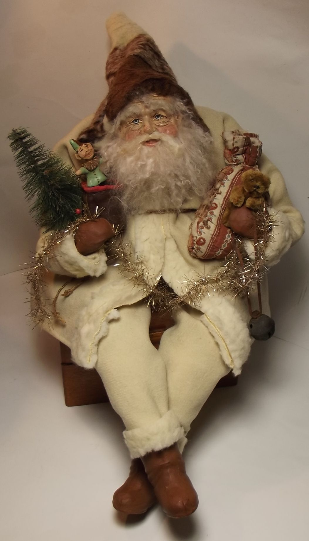 handmade sitting santa claus jack in the box by kim sweetkims klausvintage wools - Jack In The Box Open Christmas Day