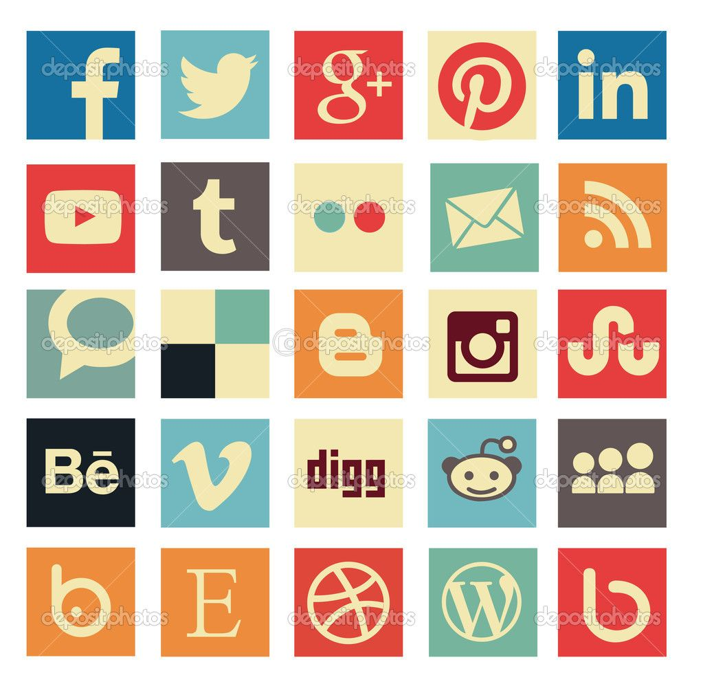 Simple flat social media icons or buttons in retro old