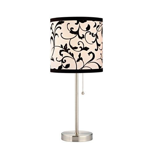 Design classics lighting pull chain table lamp with black white filigree drum shade