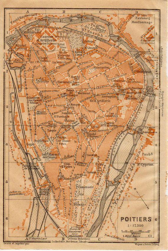 1914 Poitiers France Antique Map Vienne PoitouCharentes Region