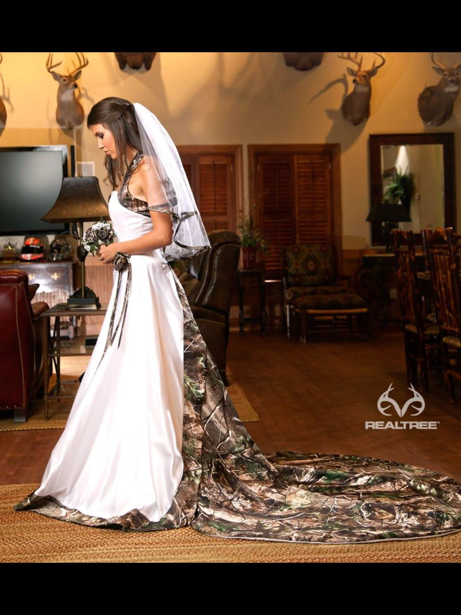 realtree wedding invitations%0A Love the style of this Camo wedding dress
