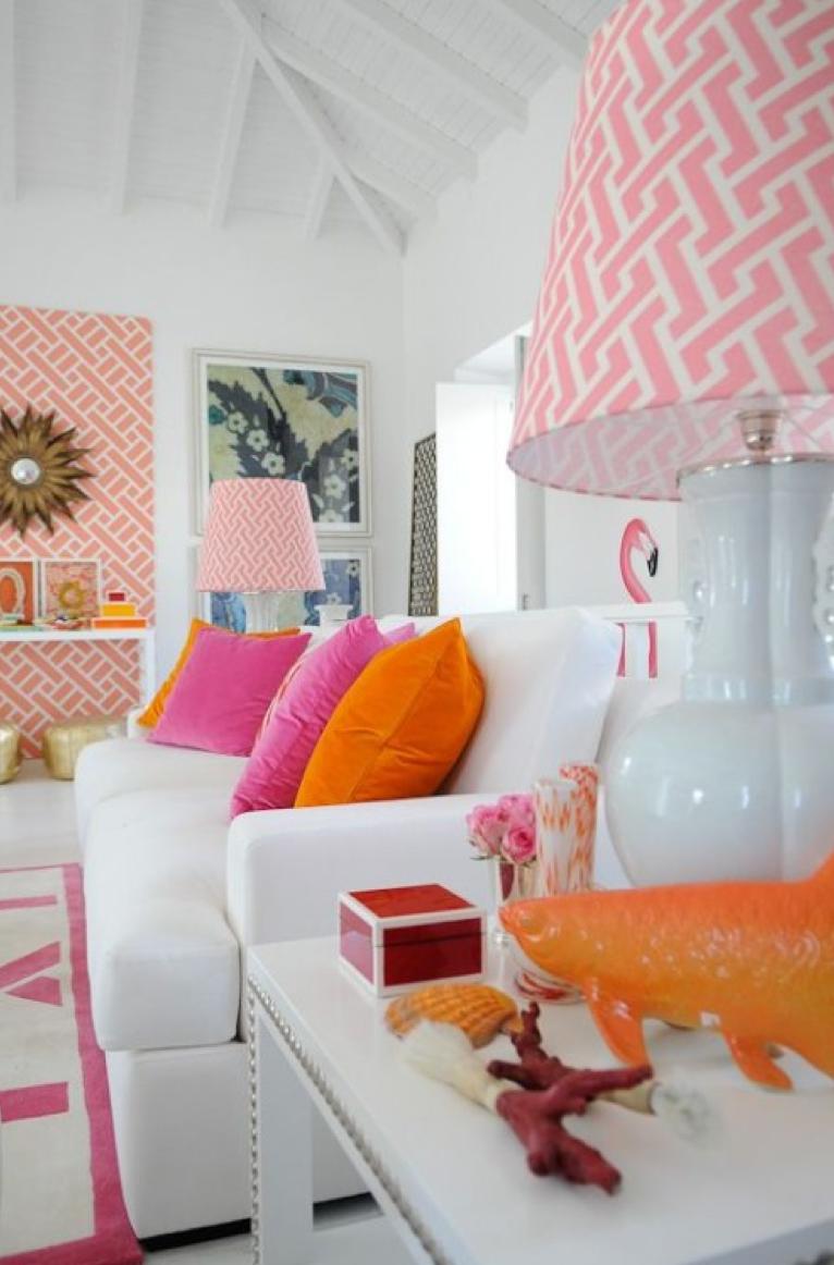 Home interior colors orange colorful interior goals  loving the orange and hot pink livingroom