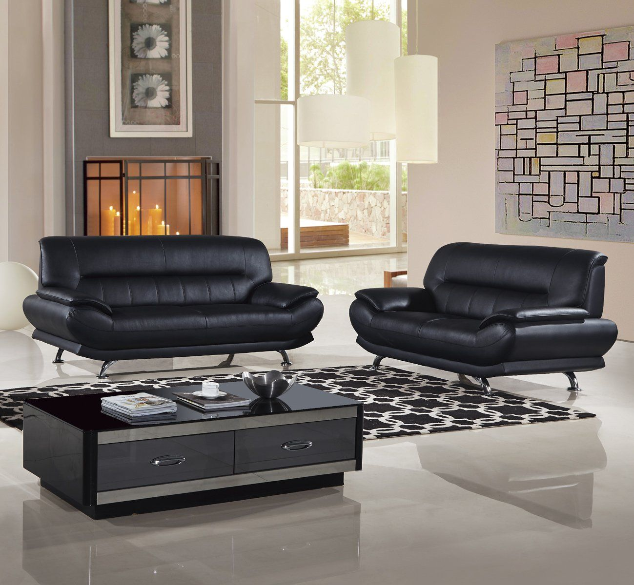 Groovy American Eagle Ek B118 B Modern 2Pcs Black Leather Sofa Set Gmtry Best Dining Table And Chair Ideas Images Gmtryco