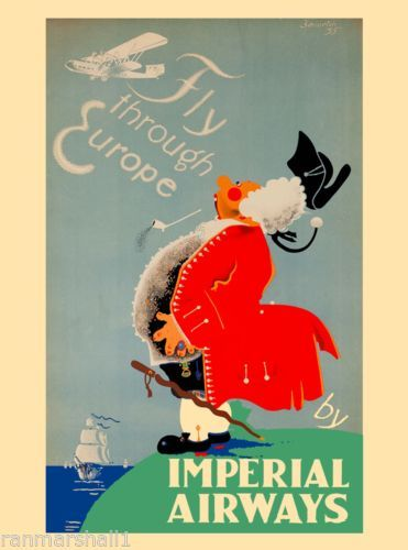 Fly Through Europe Imperial Airlines European Travel Poster Art Advertisement  in Art, Art from Dealers & Resellers, Posters | eBay