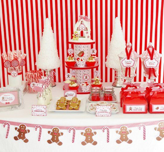 Candy Cane Party Decorations Stunning Christmas Candy Cane Dessert Table  Christmas Candy Candy Canes Inspiration