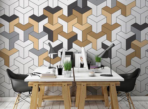 Unit Customized Unique Wallpaper Removable Washable And Etsy Vinyl Wallpaper Geometric Wallpaper Unique Wallpaper