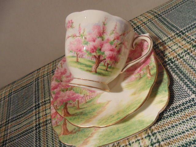 Royal Albert Blossom Time Trio Cup Saucer Square Sandwich Plate | eBay