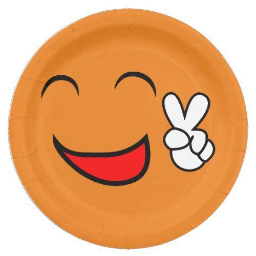 Peace Sign Face Funny Emoticon Orange Party Paper Plate Emoji