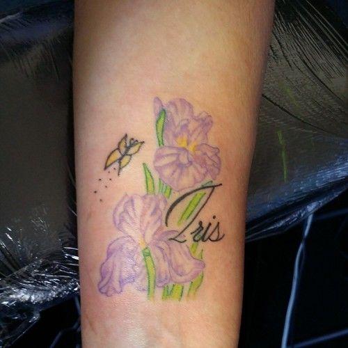 Iris Flowers With Iris Name Iris Flowers Iris Name Tattoo