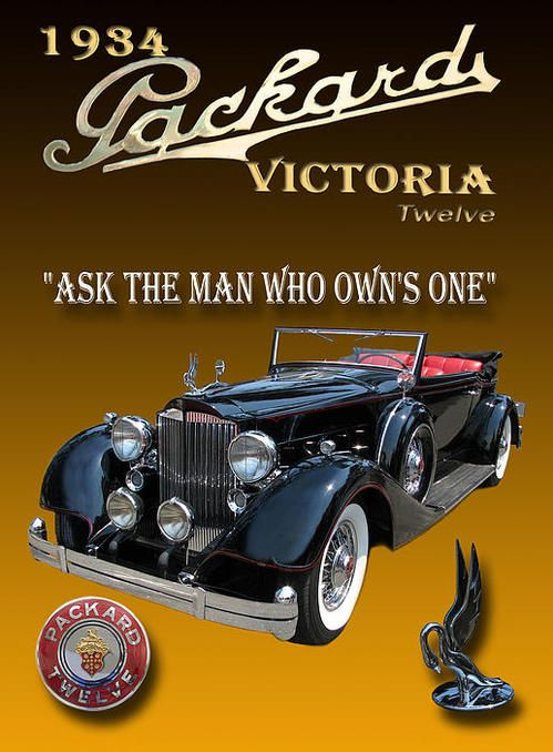 1934 Packard vintage ad, Ask the man who own's one.