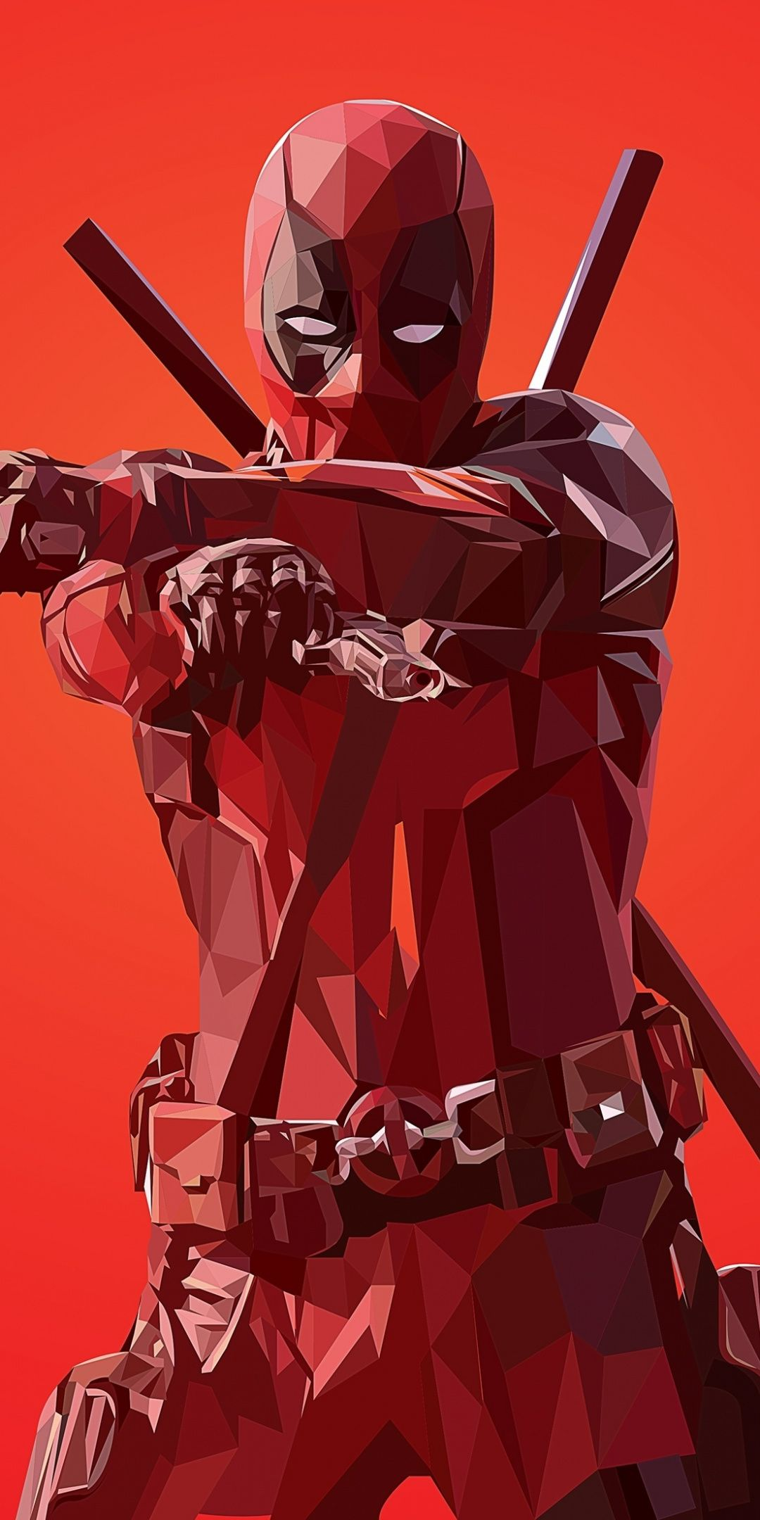 Deadpool Low Poly Artworks 1080x2160 Wallpaper Deadpool