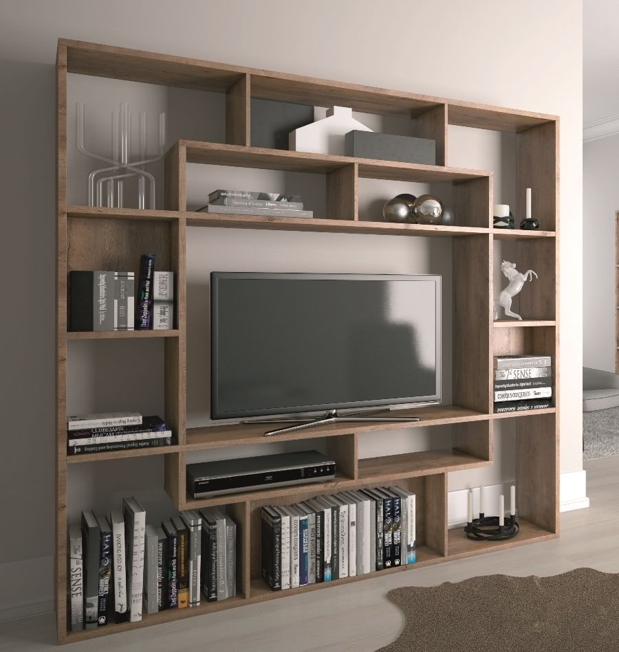 media brown floating for modern storage wall wooden two and speakers in mounted beige unit shelf tv table with between white console interior furniture shelves open tables
