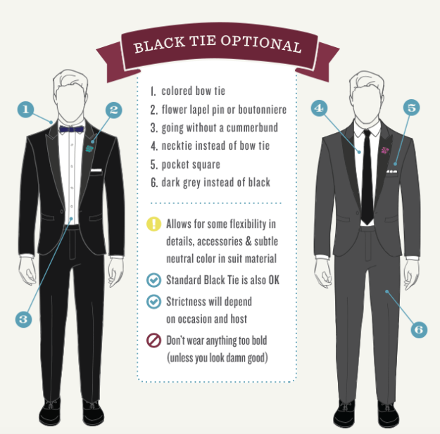 16 Style Charts Every Groom Should See Before The Wedding With Images Creative Black Tie Black Tie Attire Black Tie Optional Wedding