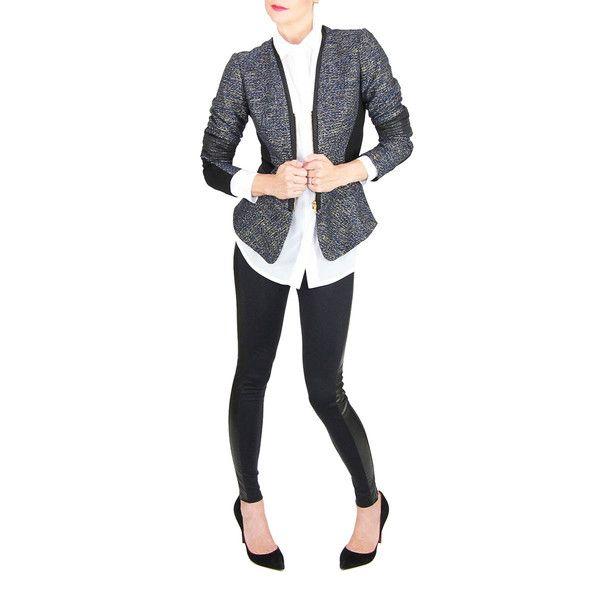 Navy Tweed Zipper Front Jacket #shopburuwishlist #chic #shopburu