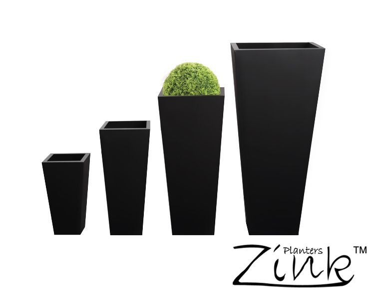 H70cm Zinc Galvanised Black Flared Square Gunmetal Planter   By Primrose®